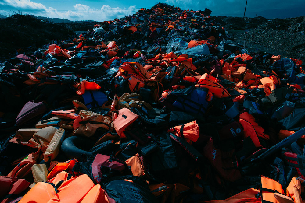 A landfill outside Mytilene provides a haunting visual symbol of the 856,723 people who opted to tempt fate on the Aegean in 2015.