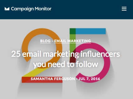 2016 Campaign Monitor round up of the top 25 email marketing influencers you need to follow