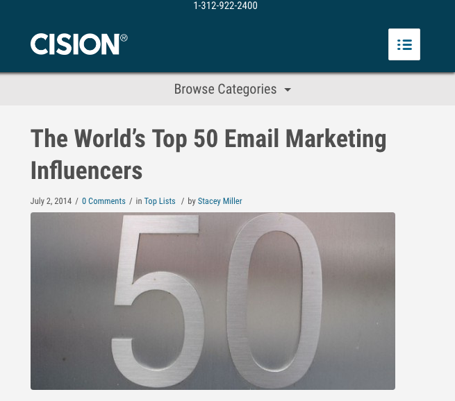Listed as one of the World's top 50 Email Marketing Influencers