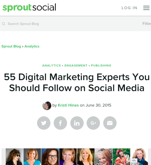 Named one of 55 Digital Marketing Experts you should follow on social media