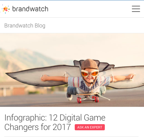 Guest blogging with Brandwatch: Infographic of 12 Digital Gamechangers for 2017