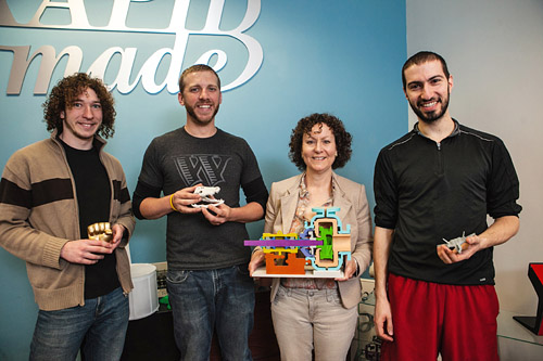 RapidMade's Staff from Left, Micah Chaban, Kris Beem, Renee Eaton and David Shapiro.  Photo credit:  Oregon Business Magazine