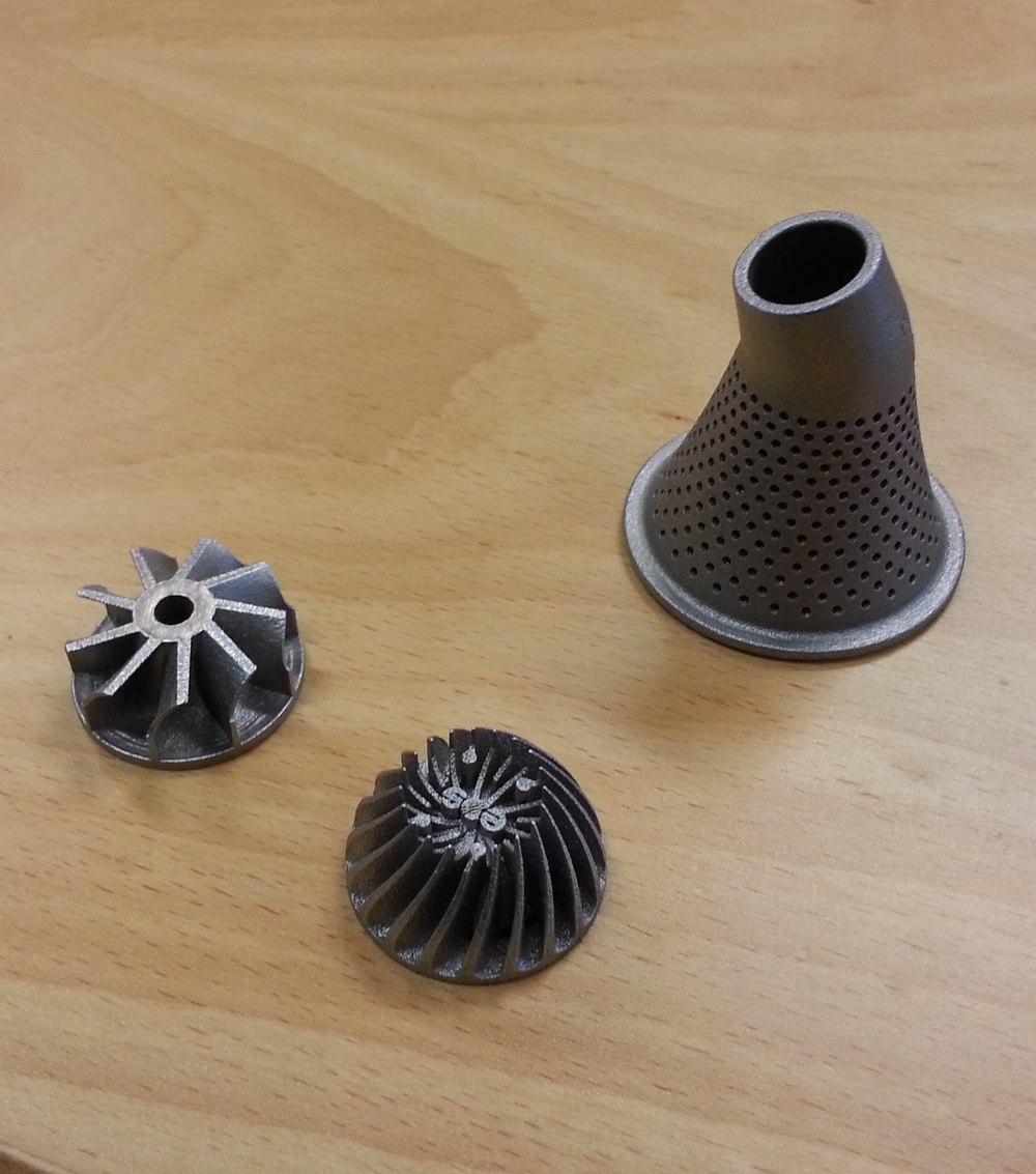 Samples of metal printed parts