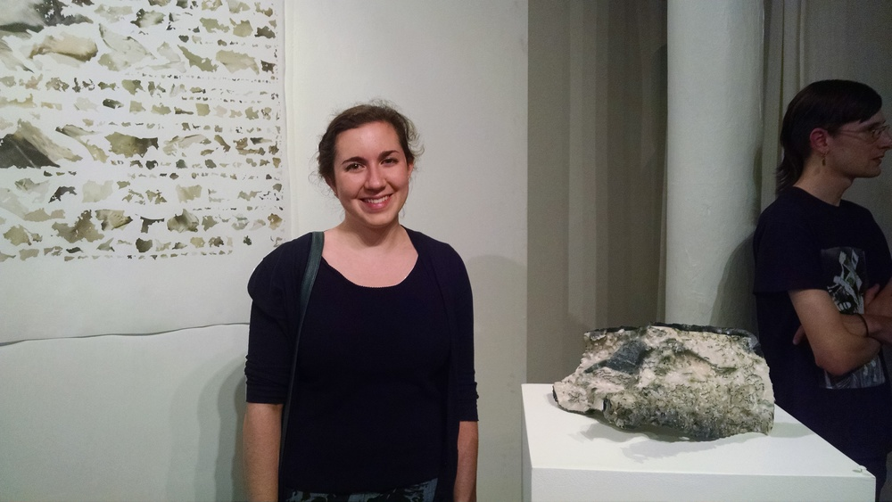 "Erica Massaro is flanked by ""Non Manifold, Mosul Museum"" (digital print on silk) and ""Manifold, Mosul Museum"" (3D print)"