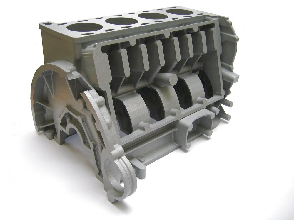 Full size motor block 3D printed in a single piece. Burnout Resin material used for investment casting.