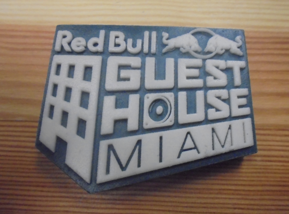 "Custom promotional giveaway for ""Red Bull Guest House"" party event in Miami, Florida."