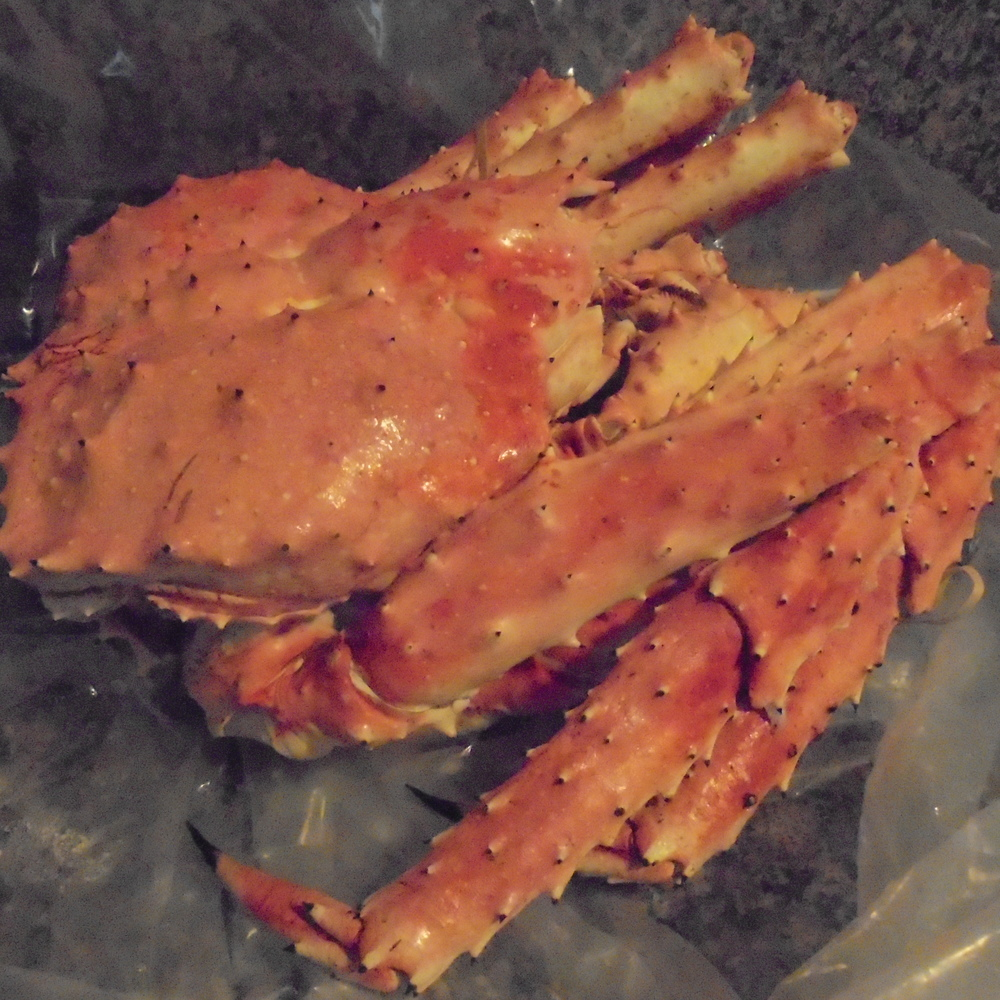 A frozen crab shipped directly from Alaska. Looks tasty.