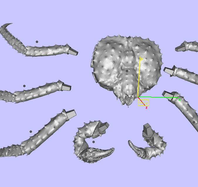 Individualized scanned components, including claws, legs and the body.