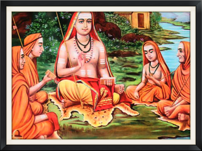 Shri Adi Shankara with his Disciples: Thotakacharya, Hastamlakacharya, Sureshvaracharya and Padmapadacharya