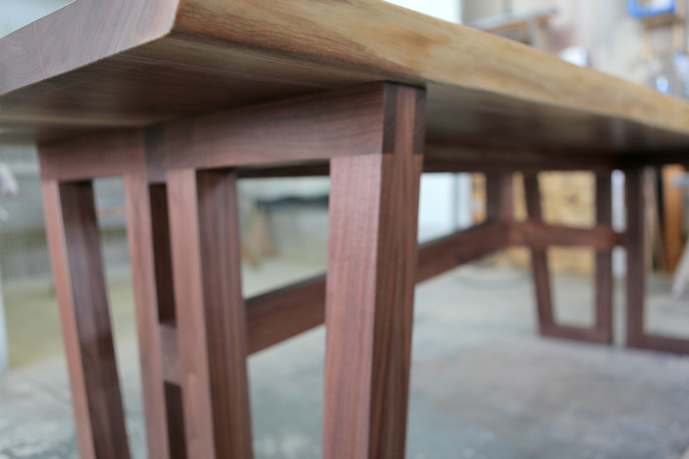 Solid walnut kitchen table detail