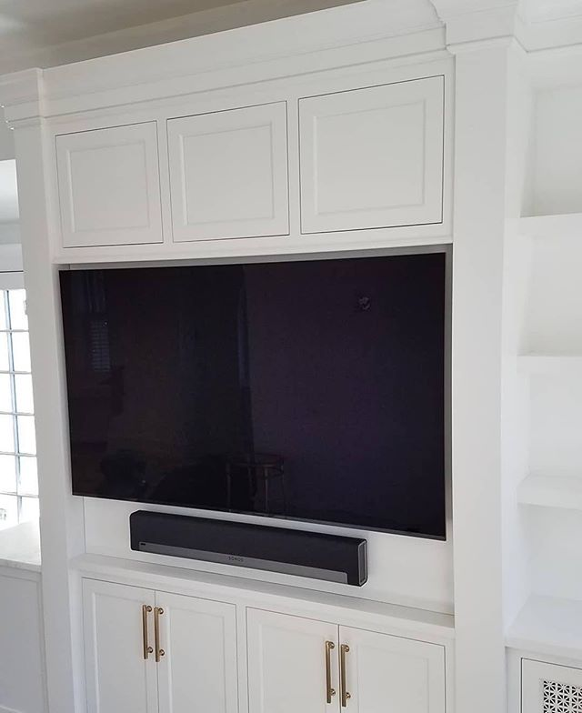 #Repost @valleyautomation ・・・ Recently completed this TV and soundbar installation.  This is part of a larger project including multi-room music and whole house wifi.🎶📱🖥 . . Cabinetry by: @village_handcrafted  #smarthome #experienceconnectedliving
