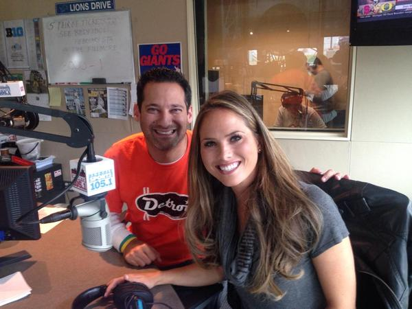 "Fox 2 Detroit's Erika Erickson drops by the 105.1 Detroit Sports studio to make some football picks with Matt Dery, wearing our ""Orange Crush"" tee."