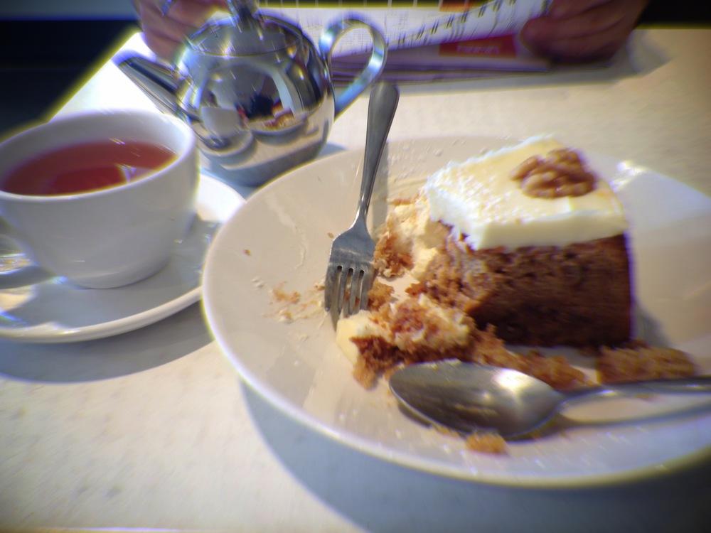 Carrot Cake enjoyed with a pot of Organic Ginger Snap Tea