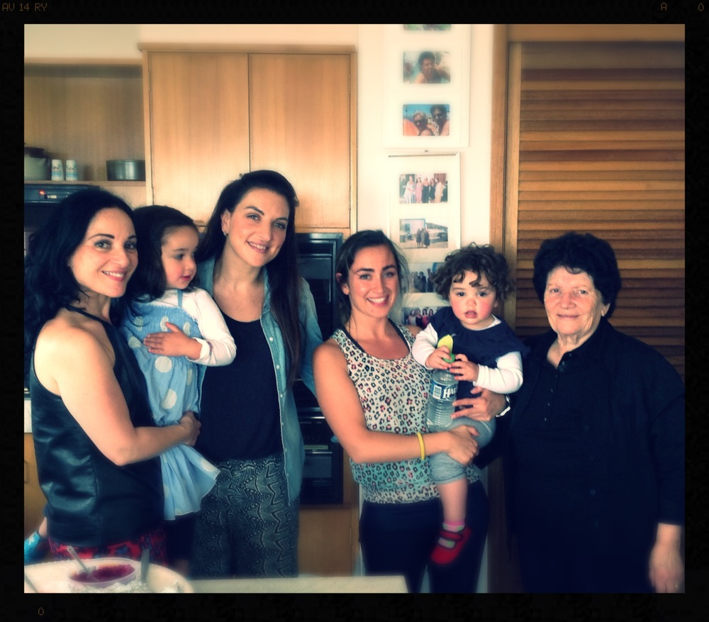 Here is a photo of four generations of the women in my family. From the left is me with Zara, her mum Tanya, my niece Eleni with Zara's sister Meila and the Matriarch of the family my Mum, also Grandmother and Great Grandmother.   The only one missing is my gorgeous older sister Gloria (Eleni's mum and Tanya's mum-in-law) who we lost to Ovarian Cancer some 8 years ago.   Doesn't matter how many years pass, we always think of her, share stories, laugh, cry and laugh some more!  .