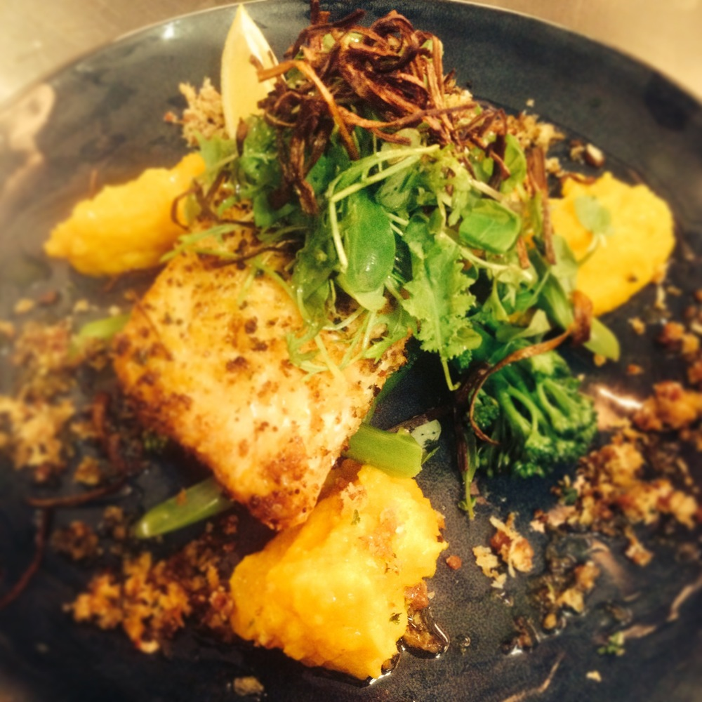 Lots of flavours and textures with this one.   Oven baked Salmon with Chorizo & Panko crust served with Carrot Puree