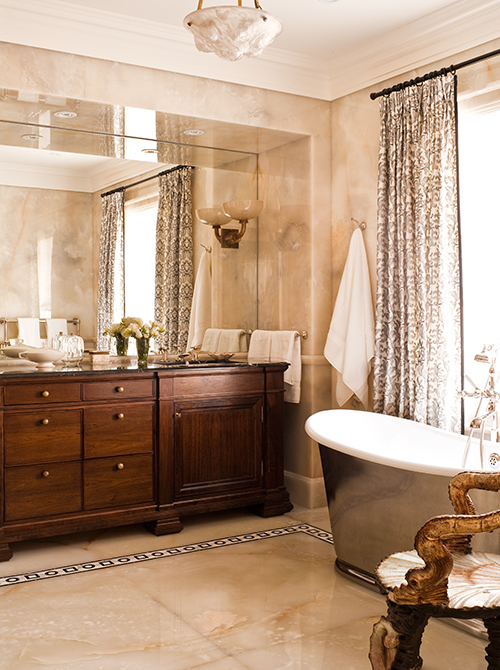 Onyx Walls and Custom Vanity for Master Ensuite (Photo by Ted Yarwood)