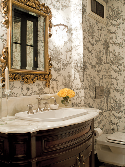 Toile Wallpaper in French-inspired Bathroom (Photo by Ted Yarwood)