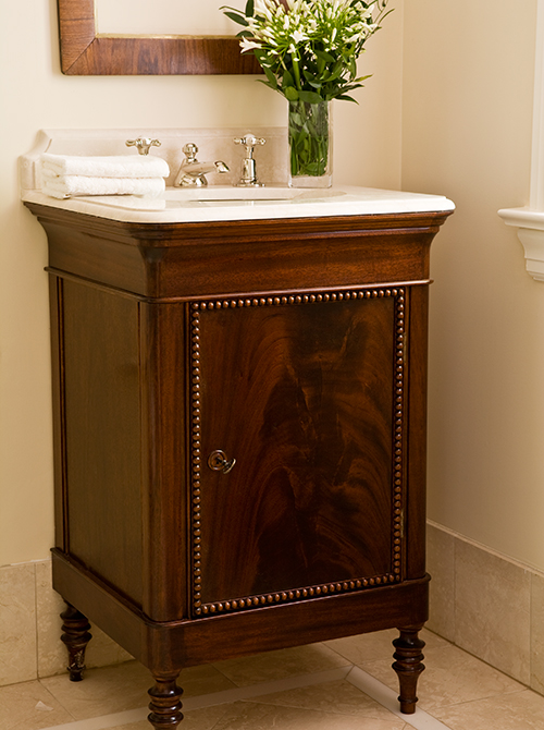 Hand Carved Custom Vanity (Photo by Ted Yarwood)
