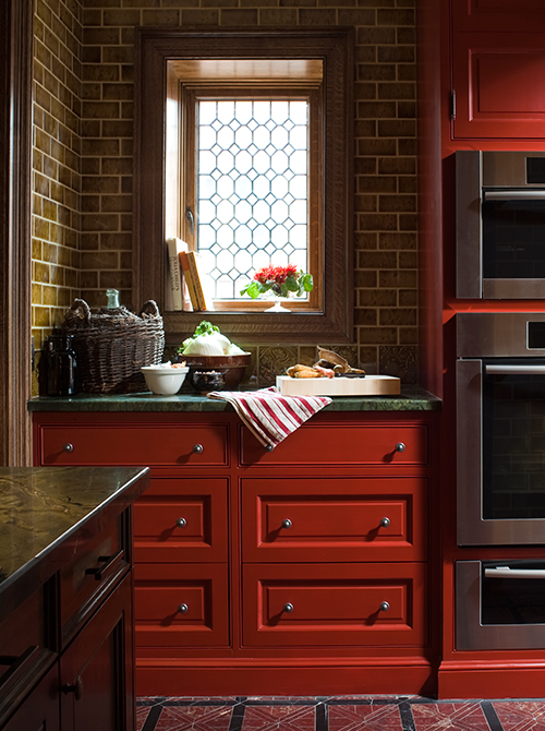 Rich Russet Red Cabinets with Green Countertop (Casey Design/Planning Group Inc. - Photo by Ted Yarwood)