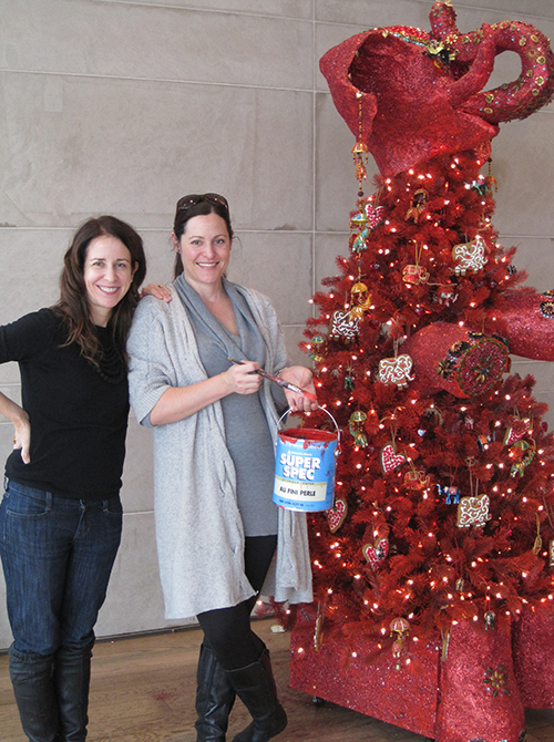 "Theresa Casey and Kari Serrao with the ""Elephant Love Tree."""