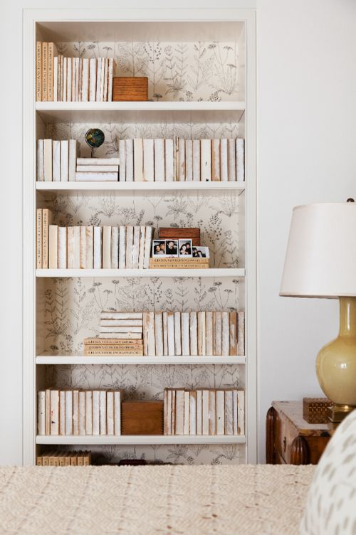 Bookcase lined with Delicate Floral Wallpaper (Casey Design/Planning Group Inc. - Photo by Donna Griffith)