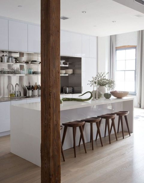 I just love this clean warm kitchen. The shiny cabinets and the matt wood are great dance partners.   It reminds me of a cottage we are designing so I'll be sure to post pictures as we're in the construction phase right now.(Remodelista)