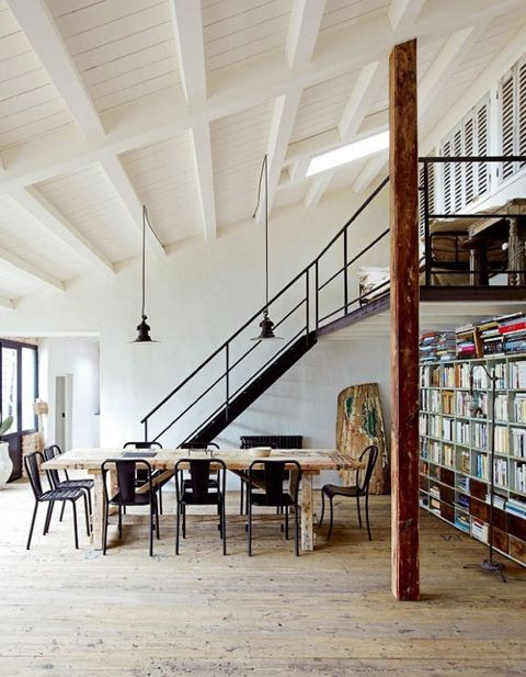 What's not to like about this classic loft with the metal staircase, rows of books and openness. (Weheartit)
