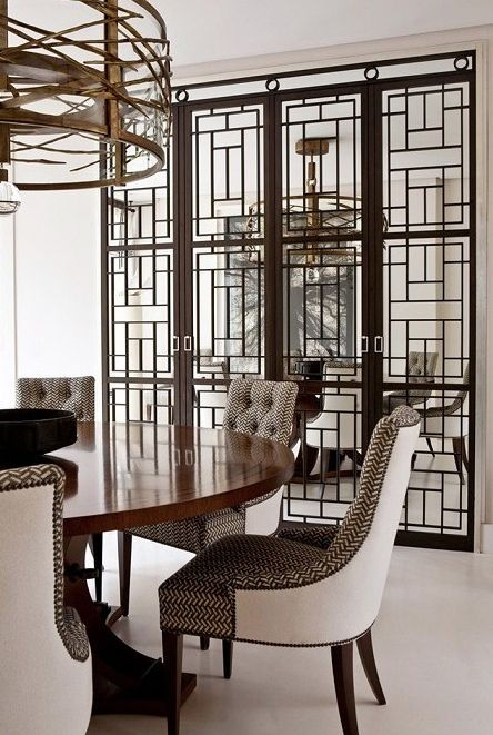 This geometric screen holds the dining room in while still keeping an openness to the space. ( Folder of Ideas )