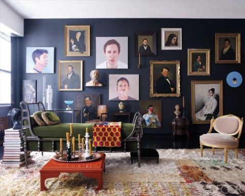 Living room, cozy heaven. Love the portraits! ( Elle Decor ).