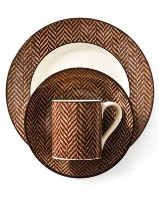 Ethan Herringbone dinnerware by Ralph Lauren Home  ( Elle Decor ).