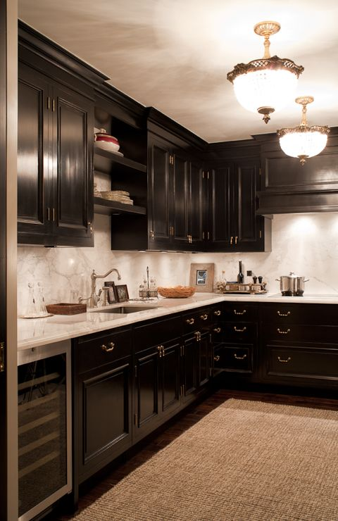 See the drama and richness of these black kitchen cabinets (Casey Design/Planning Group Inc. - Photo by Ted Yarwood).
