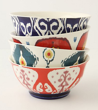 Ikat bowls can help to add some detail and colour to a space. (Anthropologie)