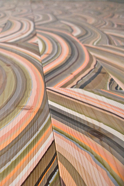 These stunning hand-marbled wooden planks are quite unique and inspiring! (Snedker Studio)