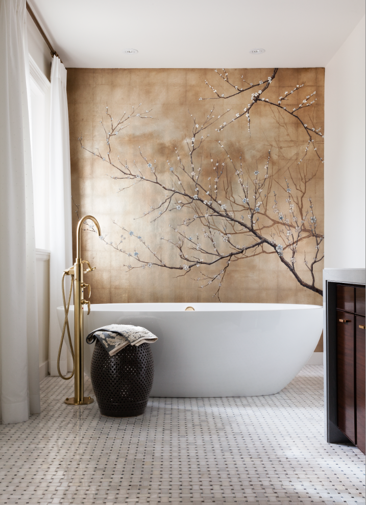 White and wood  allow the brass faucet and gorgeous wall mural to shine in this master ensuite. (Casey Design / Planning Group Inc. - photograph by Donna Griffiths)