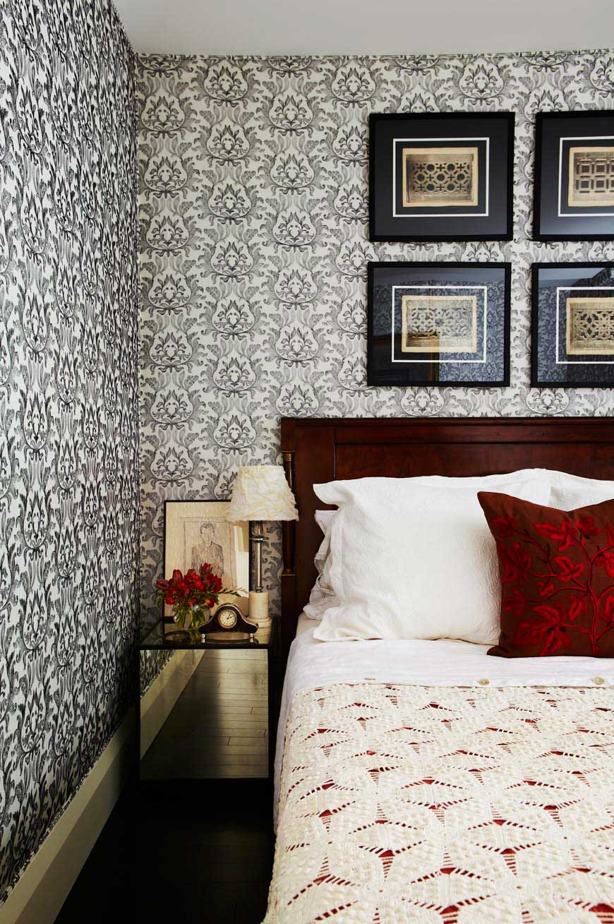 This antique Biedermeier Headboard along with the pattern, texture and value in this bedroom create a luxurious and glamorous retreat.  (Casey Design / Planning Group Inc- photograph by Angus Fergusson)