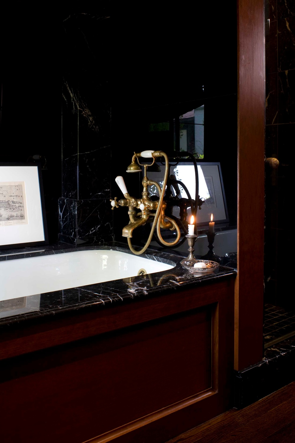 The Ensuite with the brass faucet.