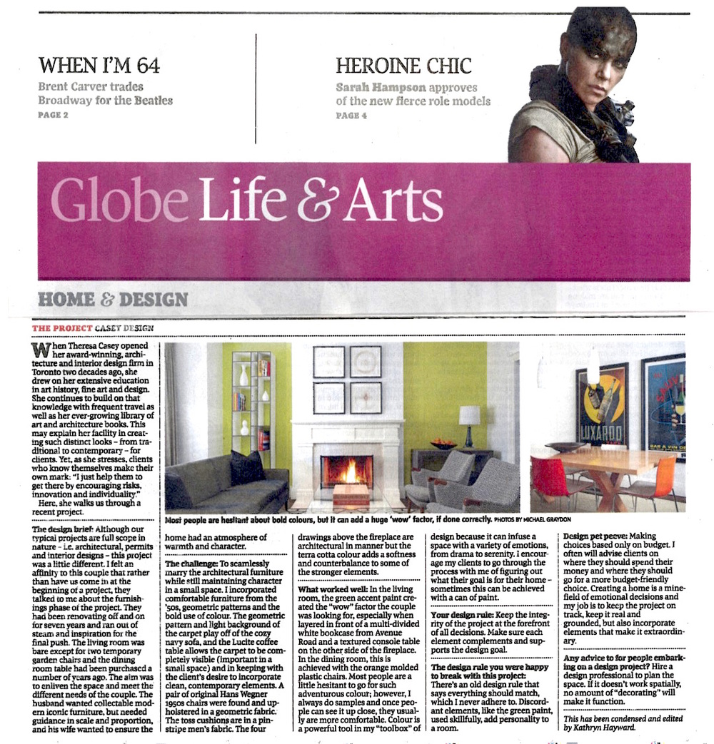 """Globe Life and Arts: House & Home"" Globe & Mail, May 2015"