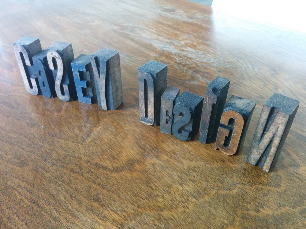 "These are vintage ""Casey Design"" printer wood blocks, probably from the turn of the century."