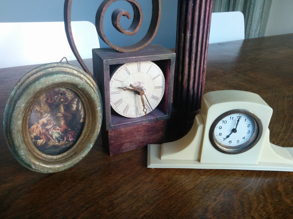 More vintage clocks and a frame.