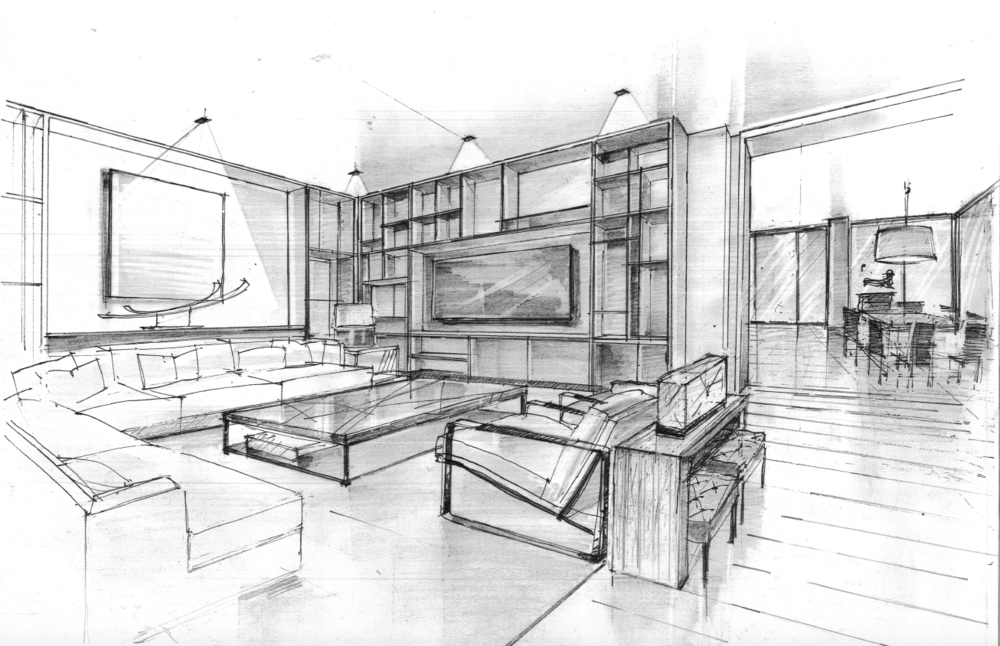 Concept sketches for home audio visual needs in these clean built-in units.