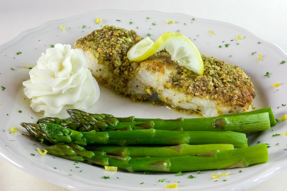 Sea Bass with Pistachio Crust