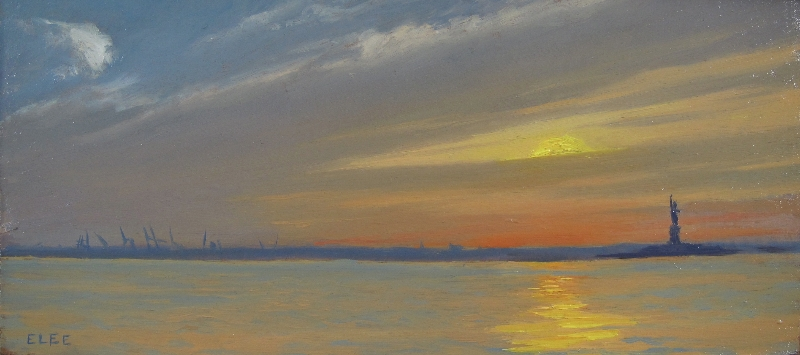 """Red Hook Sunset 2"", oil on panel, 5x11, $500"