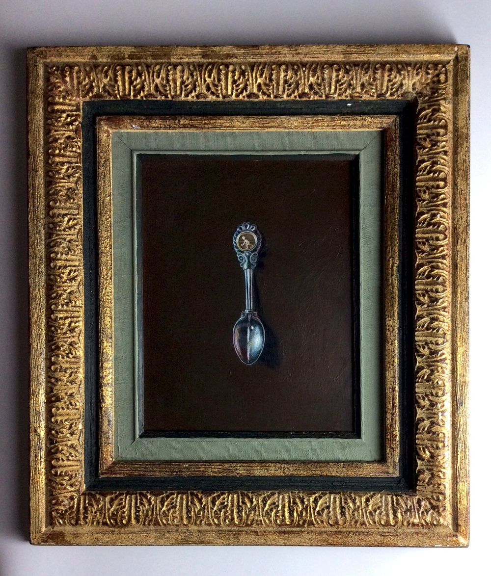 """Bocci Spoon"", acrylic on panel, 10x8, $450."