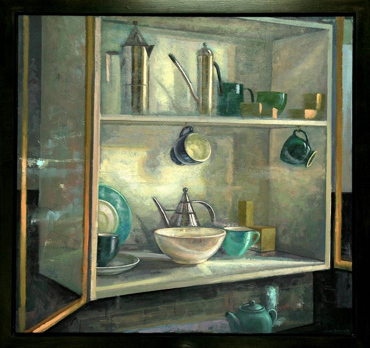"""Still Life with Open Doors"", oil on panel, 46x48, $5600"