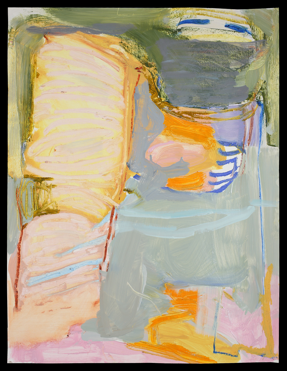 L. Glavin_TheChase_oil on gessoed paper_28x22 framed_1500.jpg