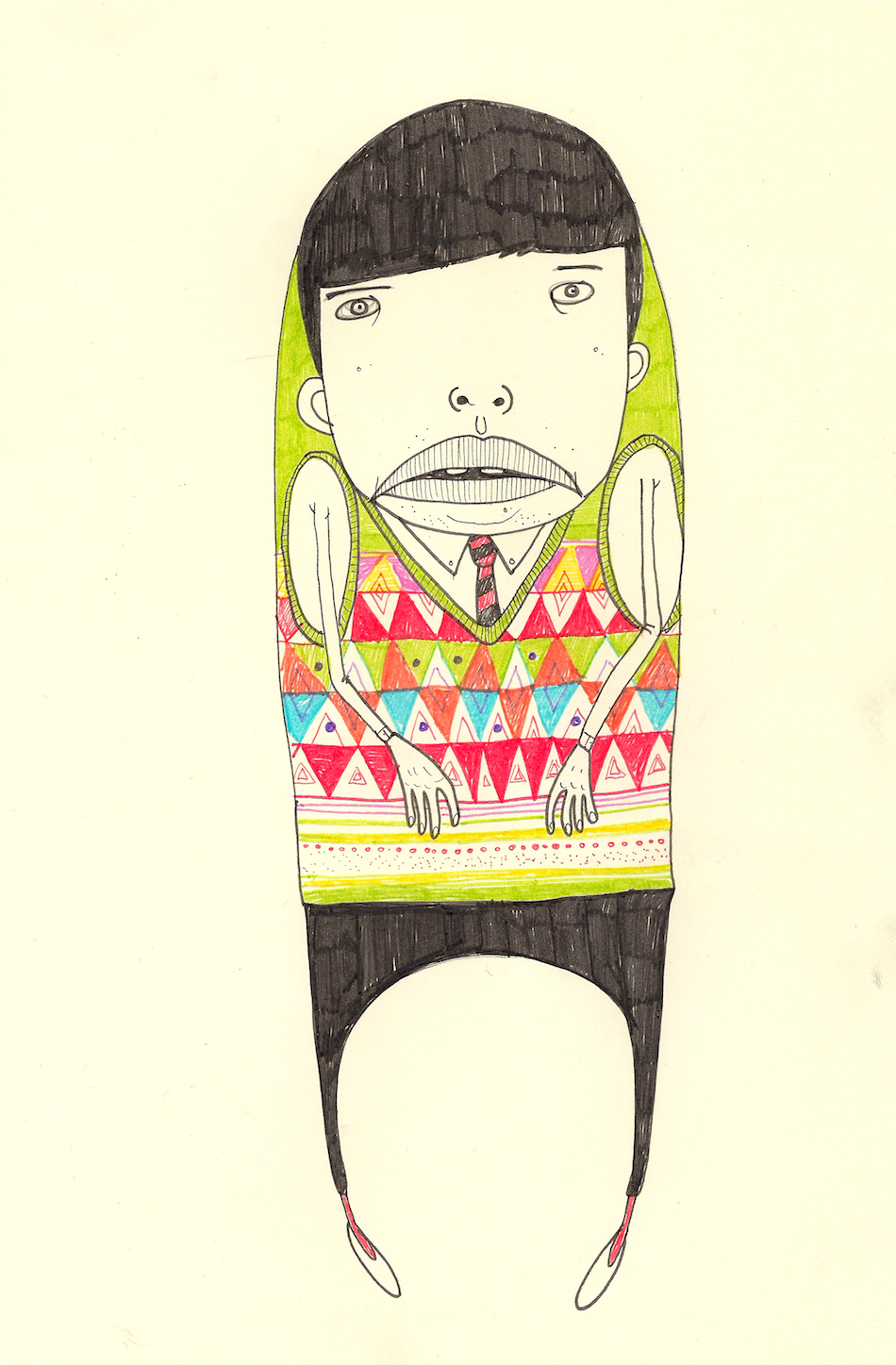 """Jack Henry and His Colorful Knitted Vest"", Felt Tip Pens, 8x11, $650 (framed)"
