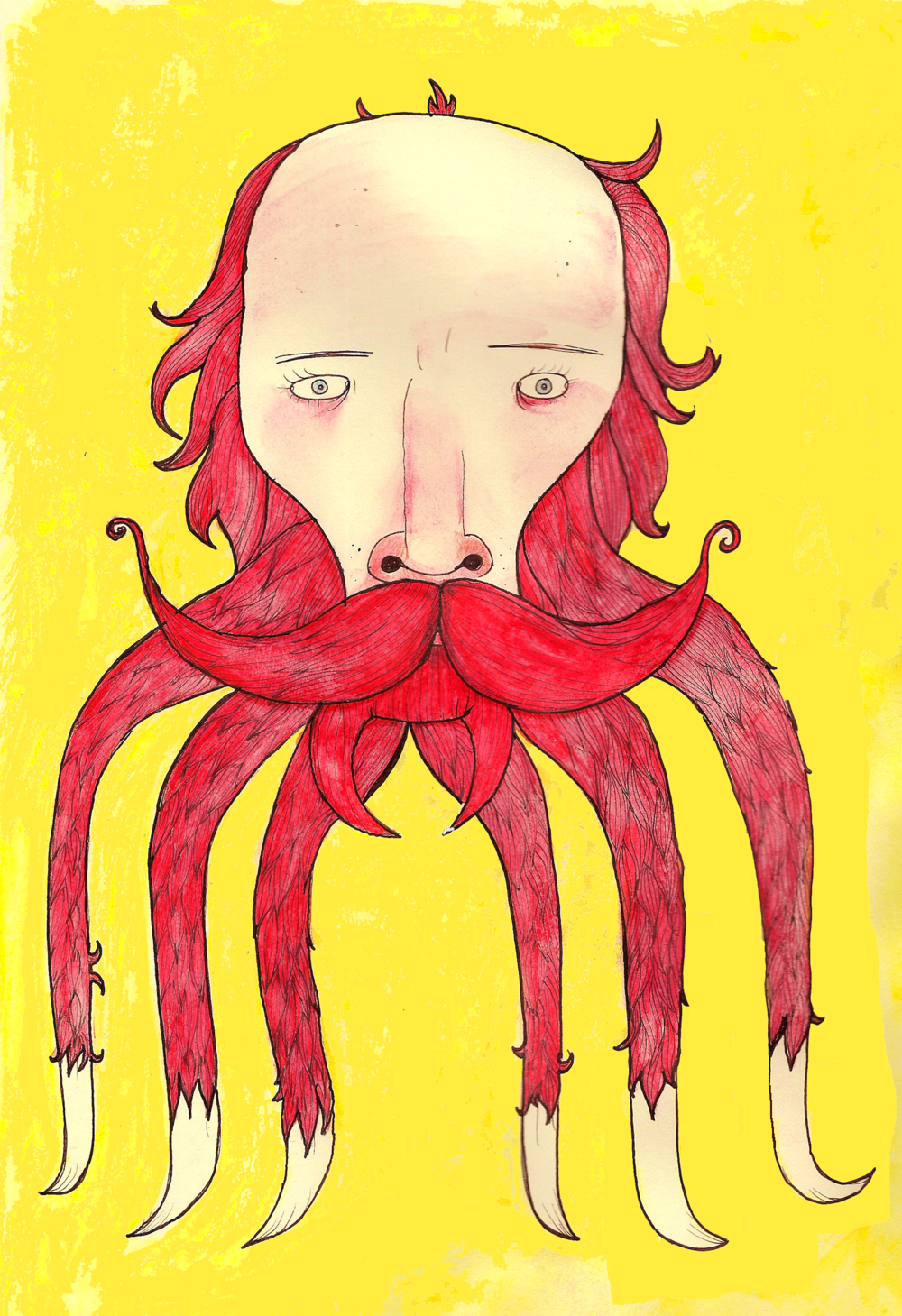 """The Bearded Traveller 2"", Ink and Watercolour on Paper, 8x11, $950 framed"
