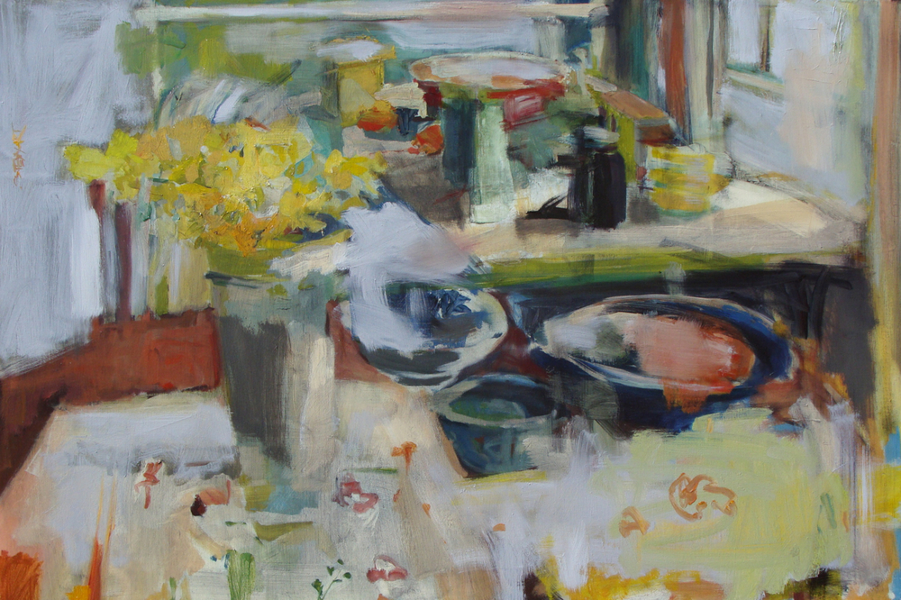 """Spring Table"", oil on linen, 24x36, $4,100"