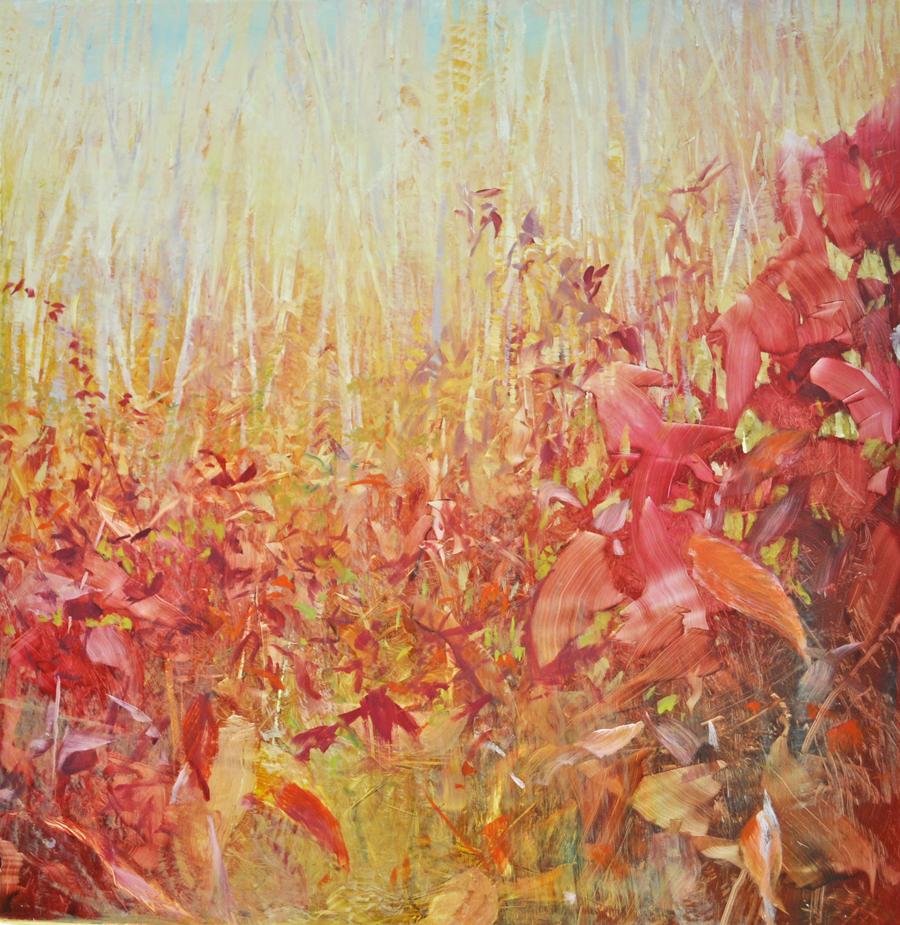 """Autumn Meadow"", oil on anodized aluminum, 18x18, $2,200"