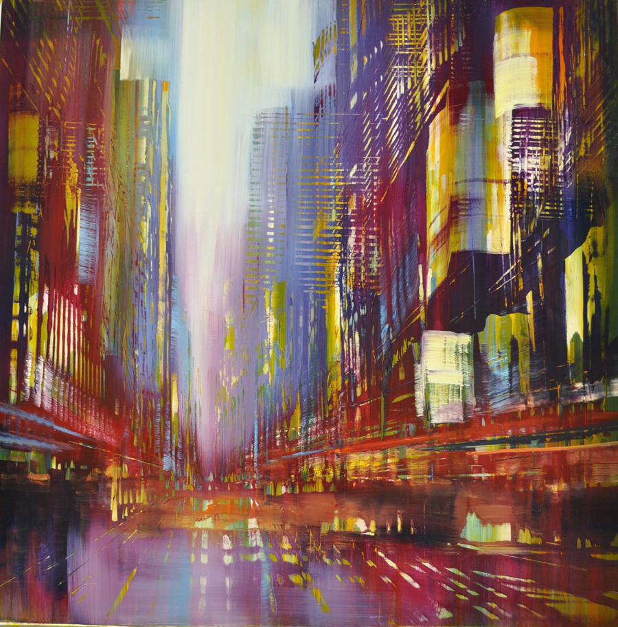 """Electric Chromatics"", oil on aluminum, 36x36, $6,500"